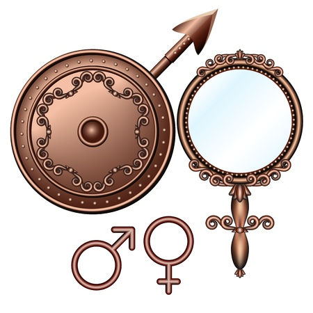 spear: Mirror of Venus and spear of Mars - male and  female symbols  illustrations