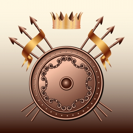royal guard: Crown, Bronze shield and crossed spears illustration