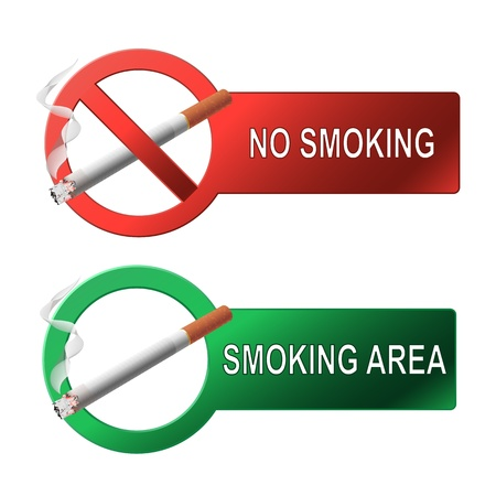 The sign no smoking and smoking area  on white background Vector