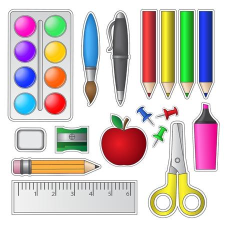 sacapuntas: Conjunto de Herramientas y útiles escolares Vectores