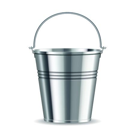 seau d eau: seau métallique avec poignée sur un fond blanc