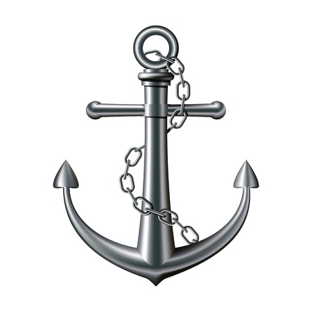navy ship: Anchor with chain on white background