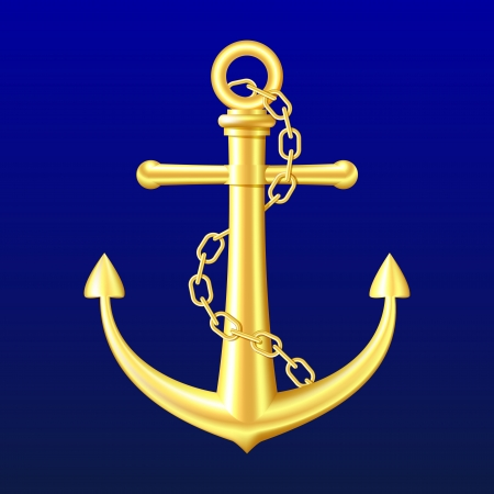 Gold Anchor with chain on blue background   Vector
