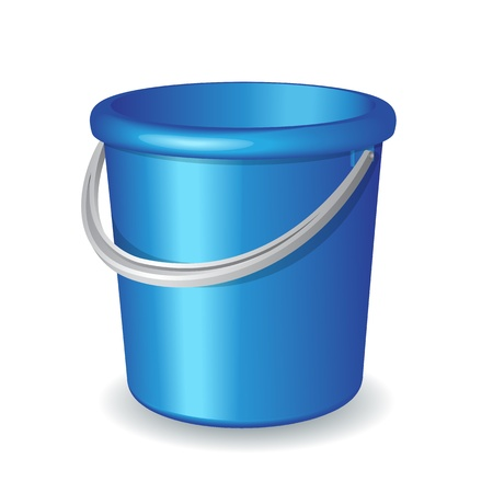 garbage can: Blue plastic bucket isolated on white background  illustration
