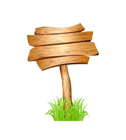 Wooden sign in grass isolated on white background   illustration Stock Vector - 15193090