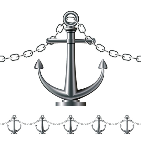Seamless steel fence featuring an anchor isolated on white   illustration Vector