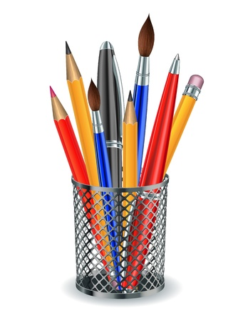 pencil holder: Brushes, pencils and pens in the holder   illustration
