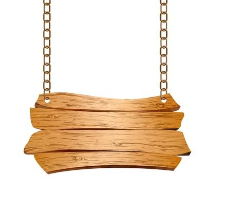 wooden post: Signo de madera suspendido de la ilustraci�n de las cadenas Vectores