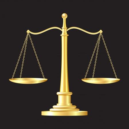 balance de la justice: �chelles d'or sur fond noir illustration