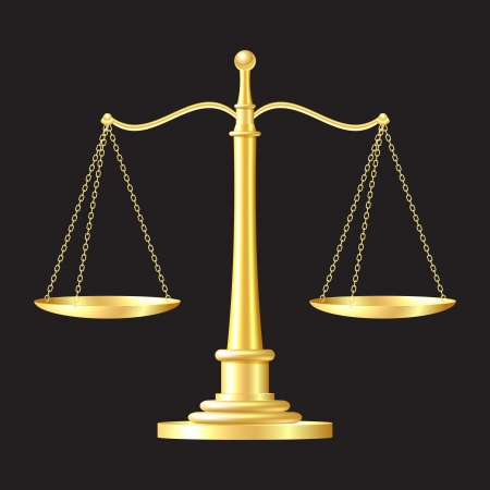 balanza justicia: escalas de oro sobre fondo negro ilustraci�n