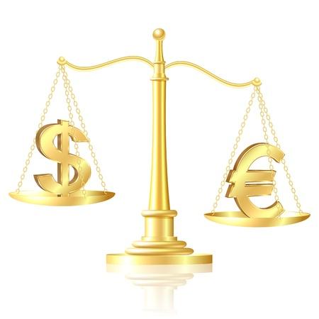 euro teken: Euro opweegt tegen Dollar op schalen illustratie Stock Illustratie