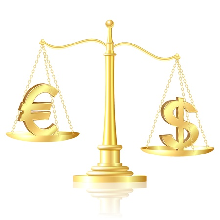 outweighs: Dollar outweighs Euro on scales illustration
