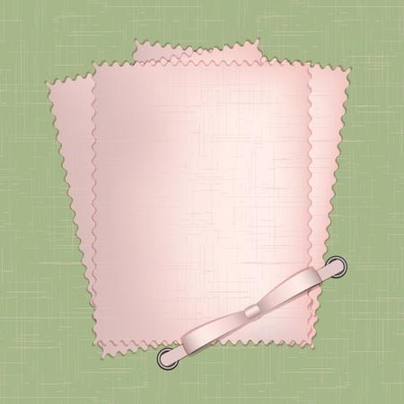 photo album page: Marco para una foto o invitaciones con lazos de color rosa sobre fondo verde.