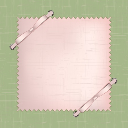 Framework for a photo or invitations with pink bows on green background .  Vector