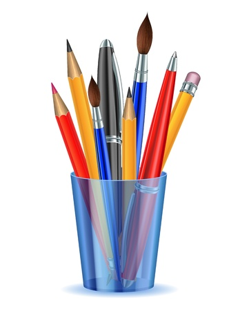 art supplies: Brushes, pencils and pens in the holder.