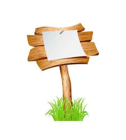 Wooden sign in grass isolated on white background.