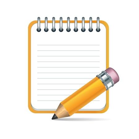 Lápiz Amarillo y el icono de bloc de notas. Ilustración de vector