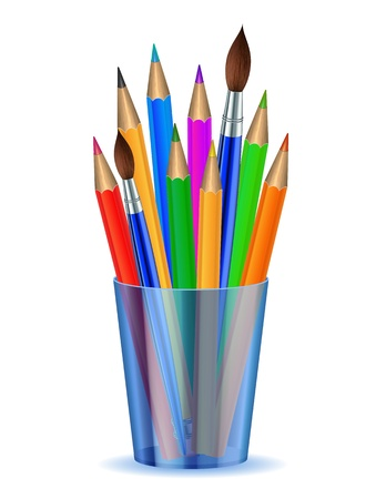 holder: Colorful pencils and Brushes in the holder  Vector illustration Illustration