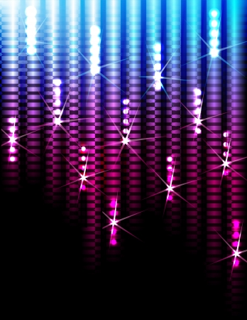Disco Abstract Colorful Stripes on Black Background Vector