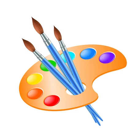 paint palette: Art palette with paint brush for drawing  Vector illustration Illustration
