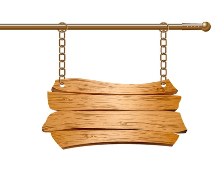 Segno di legno sospeso su catene di illustrazione vettoriale