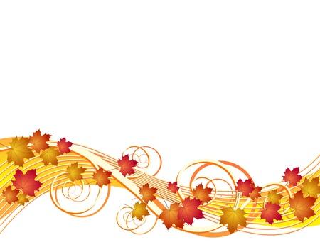 白い背景の上ベクトル イラストの葉秋を飛行
