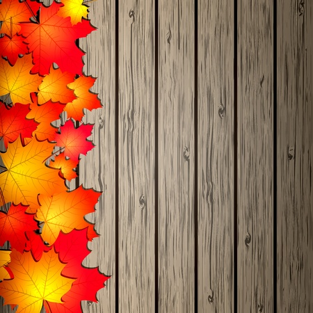 Autumn Leaves over wooden background illustration Stock Vector - 15170209