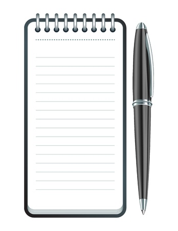 spiral pad: Black Pen and notepad icon illustration