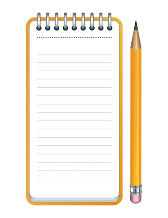 spiral pad: Yellow Pencil and notepad icon illustration