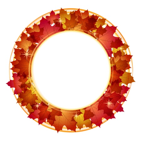 Autumn round banner with red leaves illustration  Vector