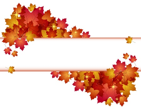 school border: Autumn banner with red leaves illustration