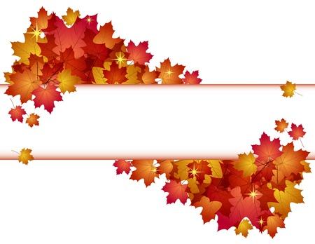 Otoño bandera con la ilustración de las hojas rojas