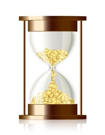 Tijd is geld munten vallen in de zandloper Vector Illustratie
