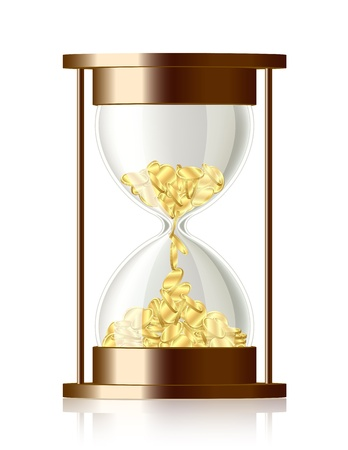 Time is money   Coins falling in the hourglass  Vector
