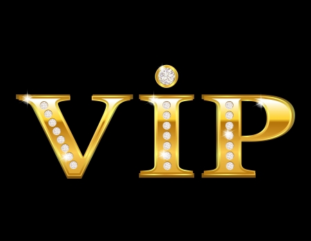 gold treasure: Vip card with golden letters and diamonds Illustration