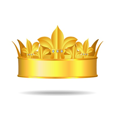 Gold crown with white gems Vector