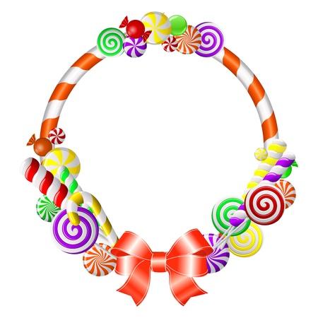 canne a sucre: Cadre doux avec bonbons color�s Illustration