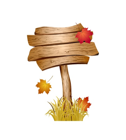 Wooden sign with autumn grass and leaves  Vector