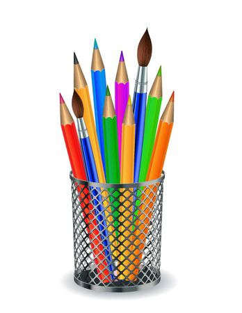 holder: Colorful pencils and Brushes in the holder   illustration
