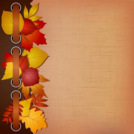 chokeberry: Autumn cover for an album with photos  Vector illustration