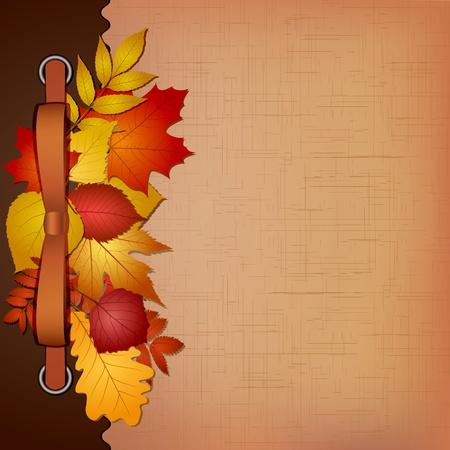 hojas secas: Oto�o cubierta para un �lbum con fotos ilustraci�n vectorial