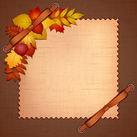 aronia: Framework for a photo or invitations with autumn leaves  Vector illustration