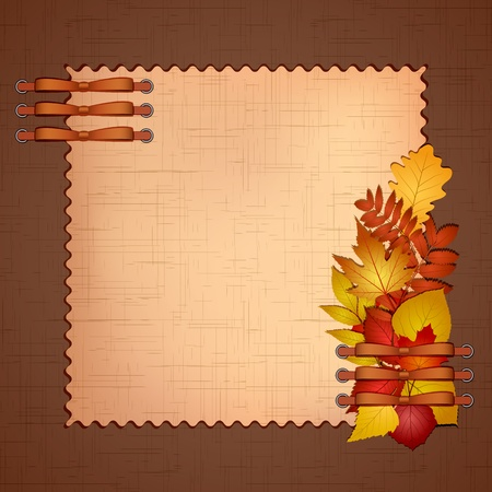 old diary: Framework for a photo or invitations with autumn leaves  Vector illustration