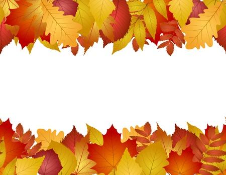 sin fisuras con las hojas de otoño rojas y amarillas Ilustración de vector