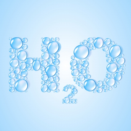 h20: water drops H2O shaped on blue background