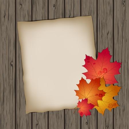 dirt texture: Foglio di carta con foglie di autunno su sfondo texture di legno