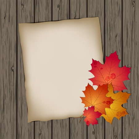 Paper sheet with autumn leaves on wooden background texture Vector