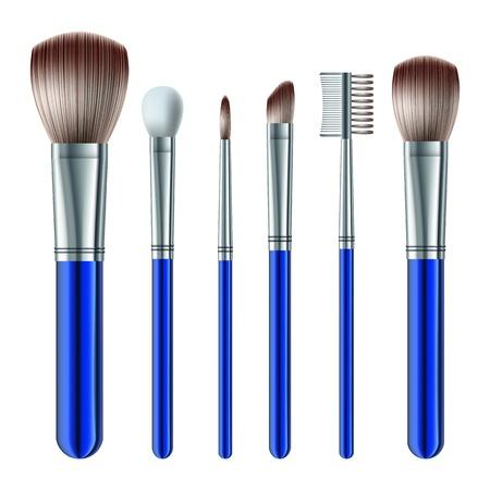 make up brush: Set de pinceles de maquillaje en el fondo blanco
