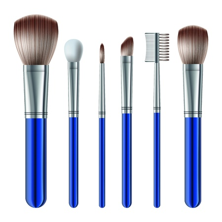 brown eyes: Set of makeup brushes on white background  Illustration