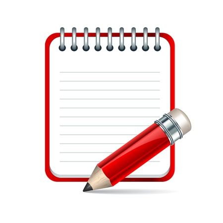 writing instrument: Red Pencil and notepad icon